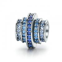Quality Gradual Change Blue Melody CZ 100% 925 Sterling Silver Beads For Jewellery Making for sale