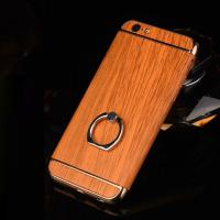 Quality Hard PC Retro Wood Triple Plating Border Ring Buckle Bracket Cover Cell Phone Case Cover For iPhone 6 6s Plus for sale