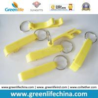 China Hot Sale Plastic Material Yellow Color Bottle Cap Tools w/Key Ring Chain on sale