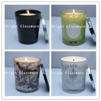 Best Solid Black Glass Candle Holder , Candle Jar With Lid Cover wholesale