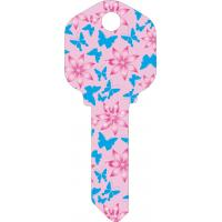 Quality Butterfly Designs Printed House Key Blanks Full Color Painted KW1 and SC1 Key Blanks for sale