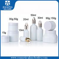 China Pure White Flat Glass Bottle Cosmetic Packaging With Glass Dropper For Skincare on sale