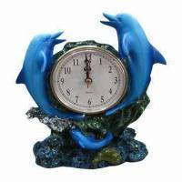 Quality Polyresin Clock Craft, Suits for Decorative Item in the Household, Customized Colors Welcomed for sale