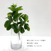 Quality Indoor Decoration Green Artificial Ficus Branch with Leaves 33 CM for sale