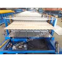 Quality 380V CR12 Blade Double Level 0.7mm Metal Wall Panel Roll Forming Machine for sale