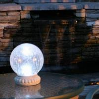 China Outdoor Solar Color Changing Glass Gazing Ball Table Light & Stand on sale