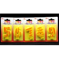 Buy Number Birthday Candles 0-9 Yellow Candle  with Orange color Stripe Painting at wholesale prices