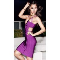 Purple Cut Out V Neck Bandage Dress Spaghetti For Evening Party