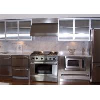 China Country Stainless Steel Kitchen Cabinets With Glass Doors , Pull Out Kitchen Cupboard on sale