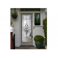 Quality Polished Wrought Iron Glass Double Entry Doors Firm Type Iron Mosaic Glass Thickness 30Mm for sale