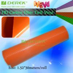 Quality High-definition Carbon Fiber Vinyl Car Wrapping Film - Orange for sale