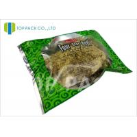 Best Glossy Green Printed Laminated Pouches 3 Side Seal Aluminm Foil Clear Window wholesale
