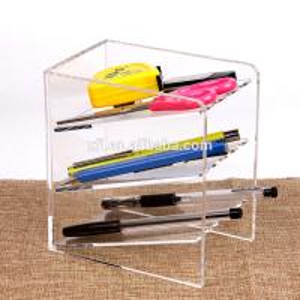 3 Tier Acrylic Shop Display Pen Holder Acrylic Stationery Shelf Display Rack Customized Logo