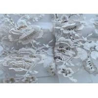 Buy cheap Oblong Beaded Embellished Lace Fabric / White Lace Material For Curtain from wholesalers