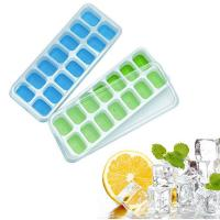 Quality Flexible Silicone Ice Cube Tray with Spill-Resistant Removable Lid for sale