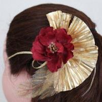 China Flower Bride Headdress with Feather Fan Peony Style, Made of New Silky and Cotton Velour on sale