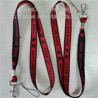 Quality Metal crimp woven lanyard with jacquard logo, office conference neck strap lanyards, for sale
