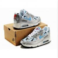 China Fashion shoes Air Max 90 Women sneakers Silvery/Blue on sale