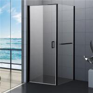 800x800 Black Bathroom Shower Enclosure, Square Shower Kits with Towel Rack