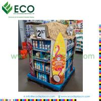 Cheap Supermarket Promotion paper floor display, carton display stand for Suncream, corrugated cardboard pallet display for sale