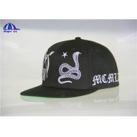 Black 100% Cotton Woven Snapback Baseball Caps With Flat Embroidery