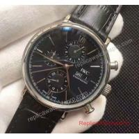 Quality IWC Portofino Chronograph Watch SS Black Dial Black Leather Band for sale
