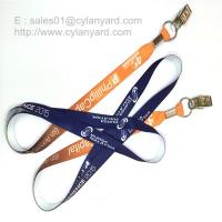 Best Flat sublimation lanyard with bulldog clip, dye sub lanyard with metal sheet crimp wholesale