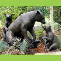 Quality Large Animal Metal Craft Sculpture Bronze Casting Life Size Bear Family Garden Statue for sale