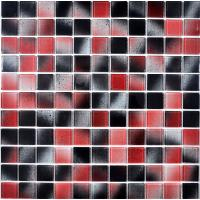 China Red black and grey mixed glass tiles square shaped hand painting glass mosaic on sale