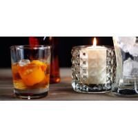 China Round Decoration Glass Candlestick Holders / Clear Glass Candle Holders on sale