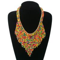 China Factory Wholesale Bohemian Style Long Tassel Seed Beads Necklace Statement Jewelry on sale