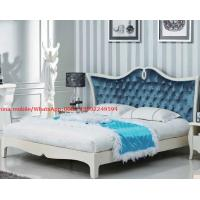 China Neoclassical design Luxury Furniture Fabric Upholstery headboard King Bed with Crystal Pull buckle Decoration on sale