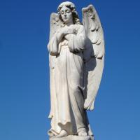 Quality Large White Marble Stone Praying Merciful Angel Statue for Cathedral for sale