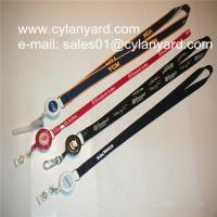Best Id badge neckstrap with epoxy dome retractable pull reel, wholesale