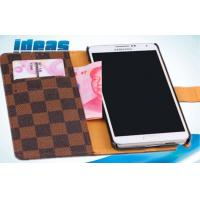Quality Brown iPhone Leather Cases with Plaid PU , iPhone6 Flip Leather Case for sale