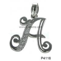 China Wedding Simple Letter 925 Silver Gemstone Jewelry With White Topaz Stones on sale