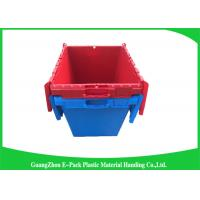 Quality Solid Moving Plastic Attached Lid Containers , 50kgs Security Plastic Bins With Lids for sale