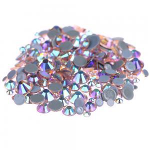 Multi Color Stick On Rhinestones  , Round Shape Glass Crystal Rhinestones