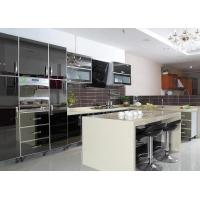Best Black Mirror Door Panel Stainless Steel Kitchen Cabinet With Beige Island And Drawers wholesale