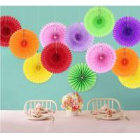 Buy cheap handmade paper folding fan for baby shower decoration Disposable Eco-friendly snow flake design fans from wholesalers