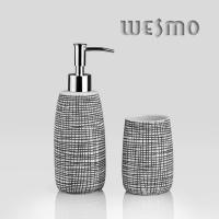 Best Black Color Full With Unordinary Small Checks Porcelain Bath Accessories (WBC0644B) wholesale