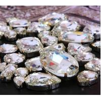 Quality preset mounted crystal rhinestone fancy jems rhinestone navette oval 10*14 for sale