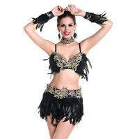 Quality Heavy Lace Over Sexy Night Club Dresses Rhinestones Delights Feather Costumes For Dancing for sale