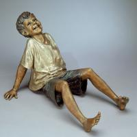 Quality Happy Kids Metal Craft Life Size Bronze Casting Laughing Boy Garden Statue for sale