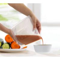 Quality NEW Food packaging reusable vacuum freezer fresh silicone food bag with zip lock for sale
