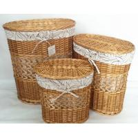 Best oral natural color willow wicker laundry basket with lid set of 3, leaf liner wholesale