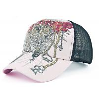 Quality Adjustable Snapback Mesh Trucker Cap Rhinestone Floral Pattern Constructed Shape for sale