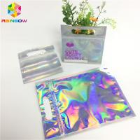 China Digital Print Foil Pouch Packaging Clear Front Hologram Zip Lock Bag For Cosmetic Sample on sale