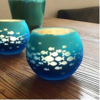 China Round electroplating ball shape candle holder with fish decoration for home decor on sale