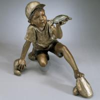 Quality Kids Metal Sculpture Life Size Bronze Casting Boy And Tortoise Face To Face Garden Statue for sale